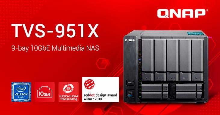 A QNAP kibővíti 9 lemezes NAS termékcsaládját: bemutatkozik a díjnyertes TVS-951X 10GBASE-T multimédia NAS, 7. generációs Intel® processzorral