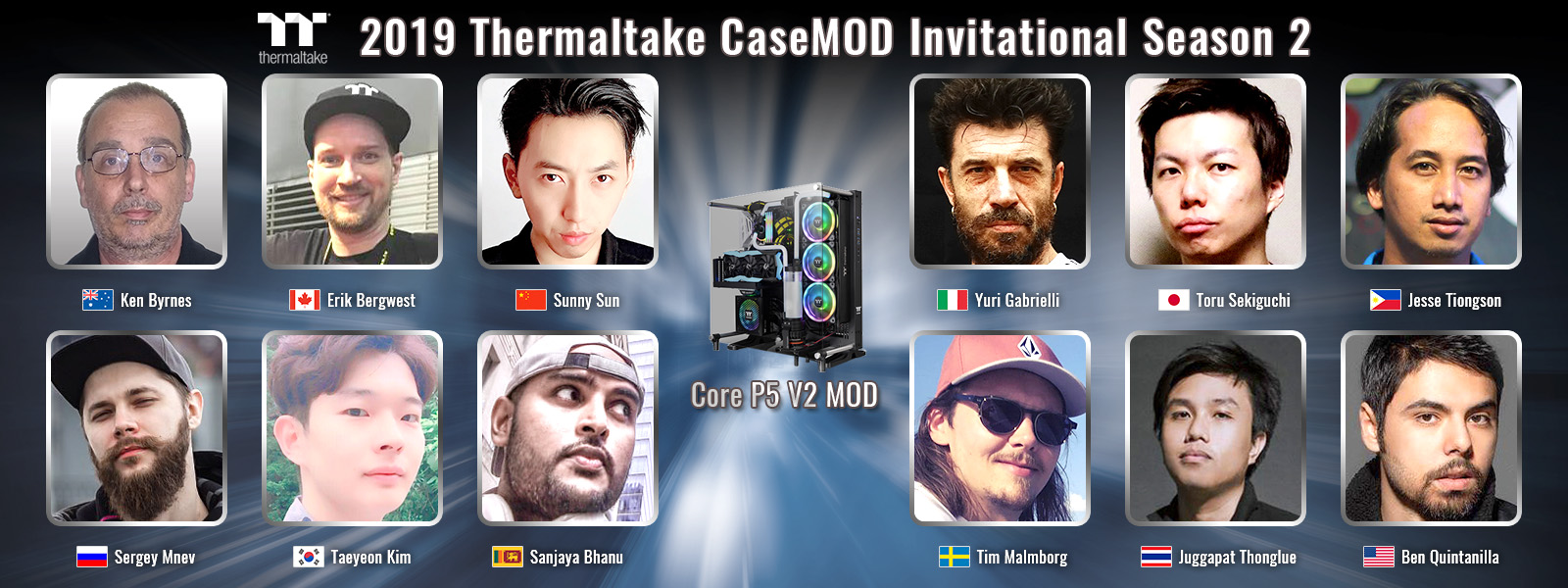 A 2019-es Thermaltake meghívásos CaseMOD verseny 2. évadja a világ tizenkét legjobb modderét kérte fel a Core P5 V2 ház újjáalkotásához