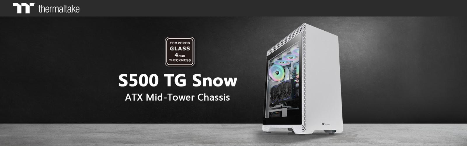 A Thermaltake S500 Tempered Glass Snow Edition közepes méretű toronyház már előrendelhető